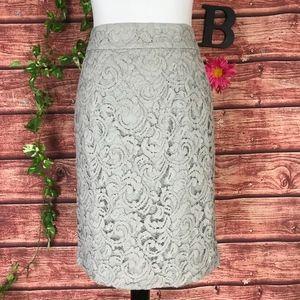 Banana Republic Skirt 8 Gray Lace Straight Pencil